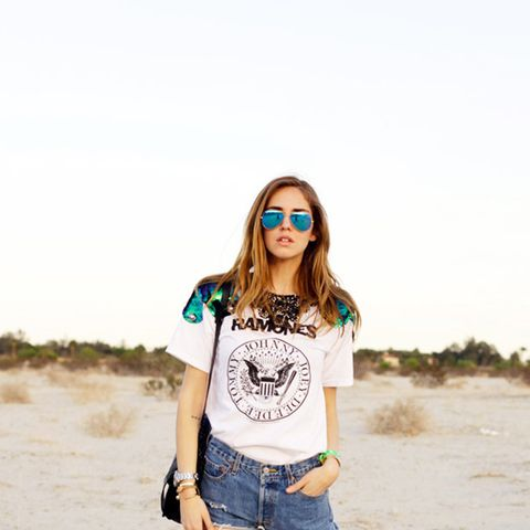 Chiara Ferragni Graphic Tee and Jean Shorts