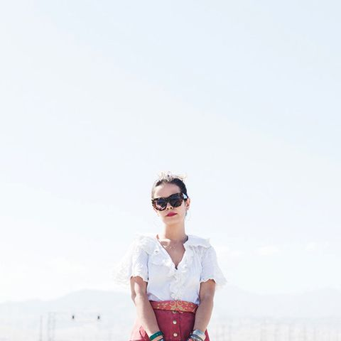 Collage Vintage Coachella Outfit White Blouse with Red Skirt