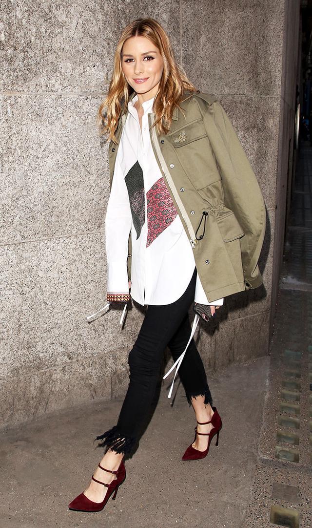 On Olivia Palermo: Markus Lupfer jacket; Ports 1961 top; Topshop Moto Fringe Hem Straight Leg Jeans(£42); Dior shoes.