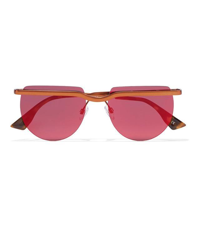 Le Specs Mafia Moderne Round-Frame Copper-Tone Sunglasses