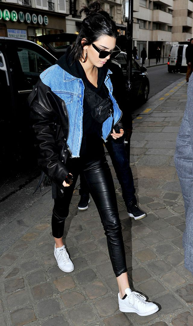 On Kendall Jenner: Balenciaga 67 mm Sunglasses (£300); Unravel jacket; The Perfext Brittany Leggings (£625); Adidas Stan Smith Sneakers (£70).