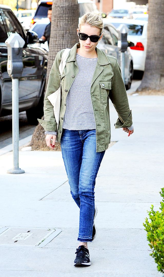 On Emma Roberts: American Eagle Outfitters Military Shirt Jacket (£56) (sold out—shop a similar style); Citizens of Humanity Rocket Skinny Mid Rise Jeans (£240);...