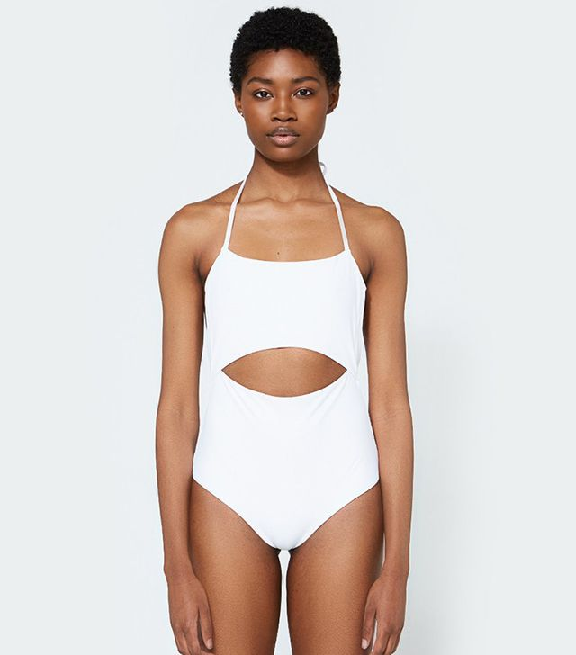 best white cut-out swimsuit