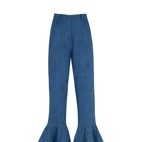 Ruffled Denim Pants