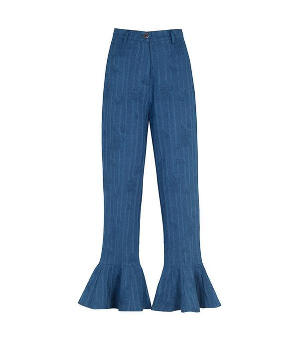 flare jeans - Christina Economou Ruffled Denim Pants
