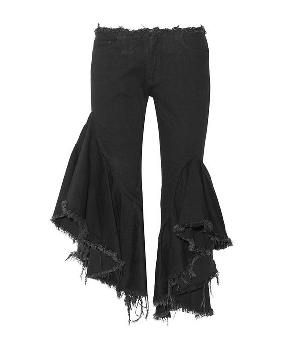 ruffled flared jeans - Marques'Almeida Ruffled Frayed Low Rise Flared Jeans