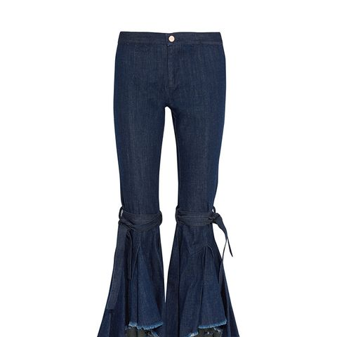 Firm In Her Beliefs Frayed High Rise Jeans