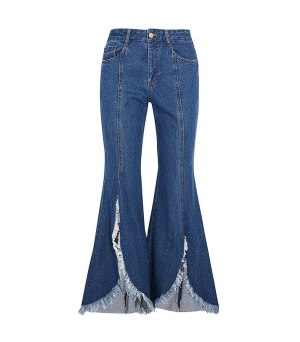 frayed flared jeans - SJYP Frayed Mid-Rise Flared Jeans