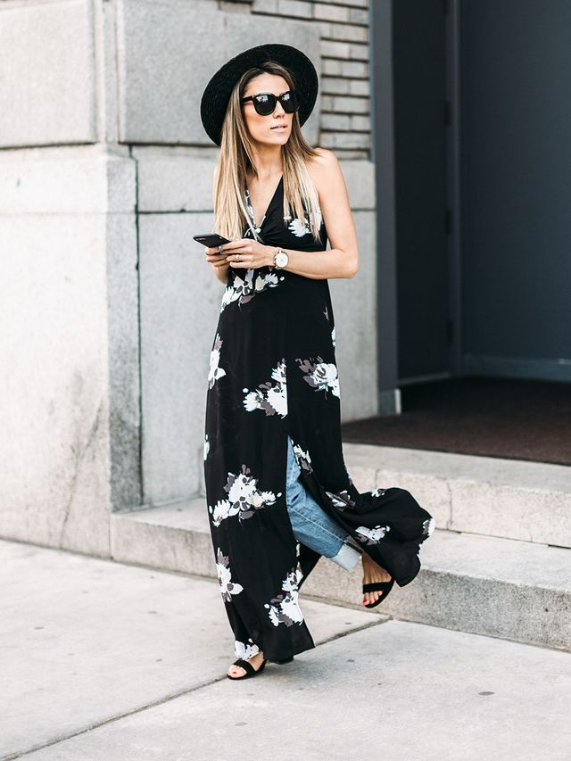 """For her second look, Andrew styled an outfit that's ideal for transitional dressing. """"Layering a dress over jeans is a fresh and effortless combination you can wear in-between seasons,"""" she..."""