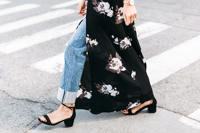"""Andrew tells us these black sandalsbelong in every fashion girl's wardrobe—the ankle strap and block heel mean they'reason trend as they are practical.""""You'll wear them with..."""