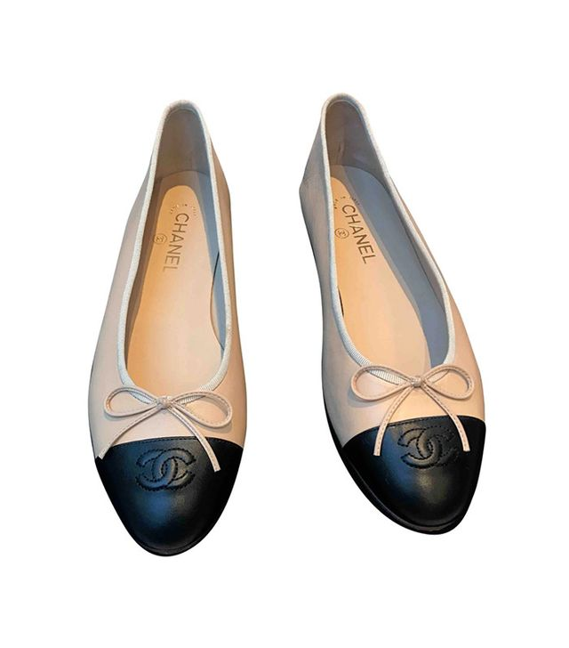 chanel two-tone leather flats