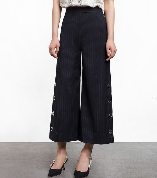Pixie Market Snap Button Pin Stripe High Waisted Pants