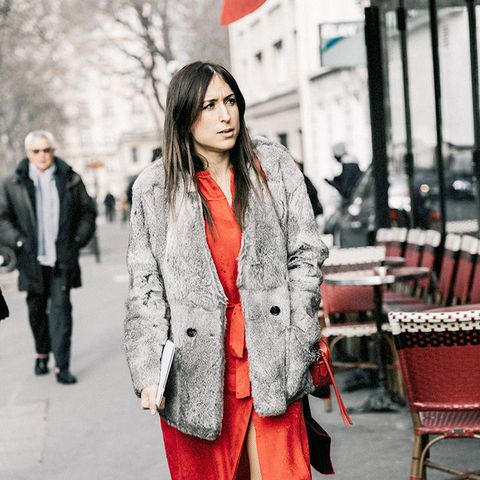 Faux Fur Jacket and Red Dress With Sneakers