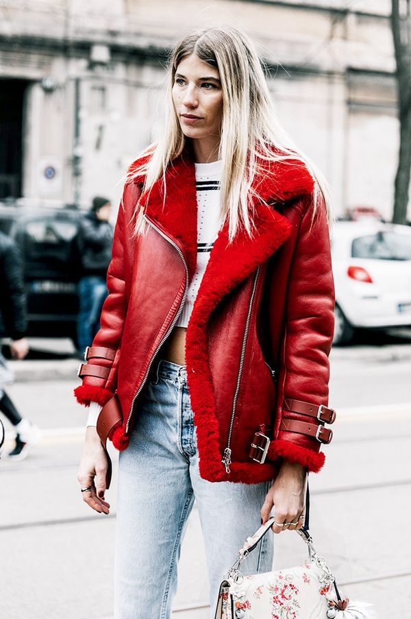 acne shearling jacket streets style