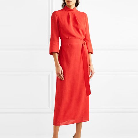 Belted Voile Midi Dress