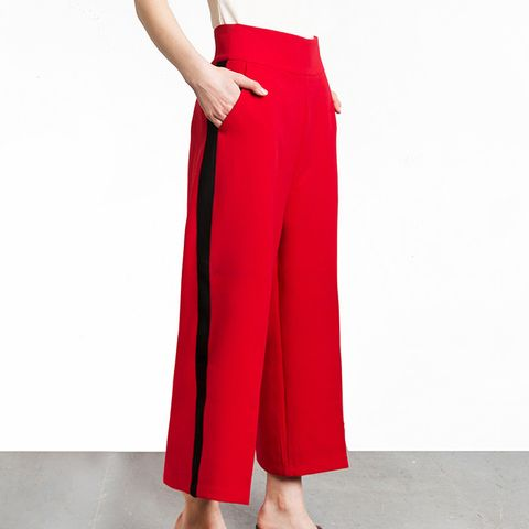 Red Side Stripe Crop Pants