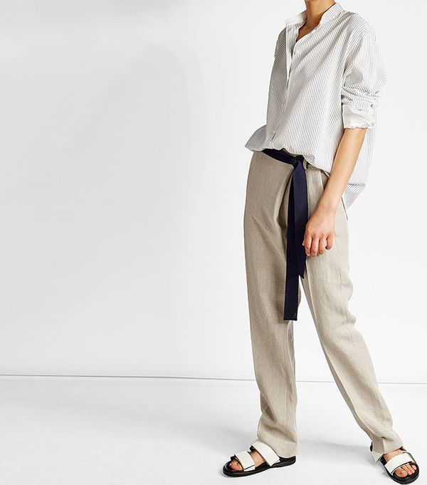 linen pants with tie