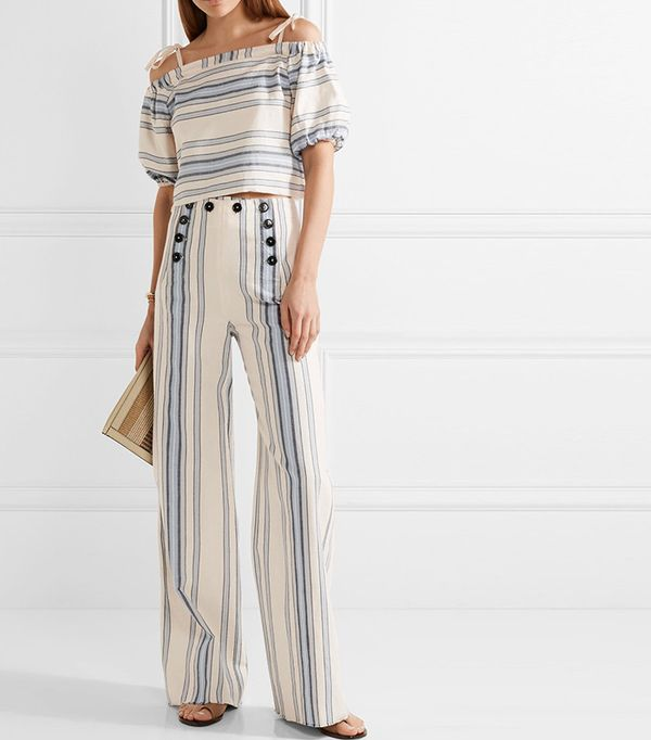 Striped cotton and linen pants