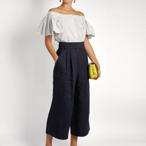 Hessian Linen Cropped Trousers