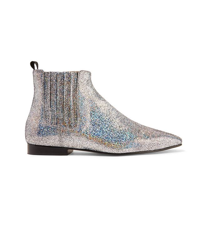 leather glitter boots