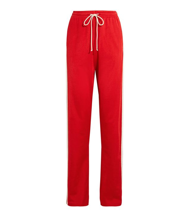red striped track pants