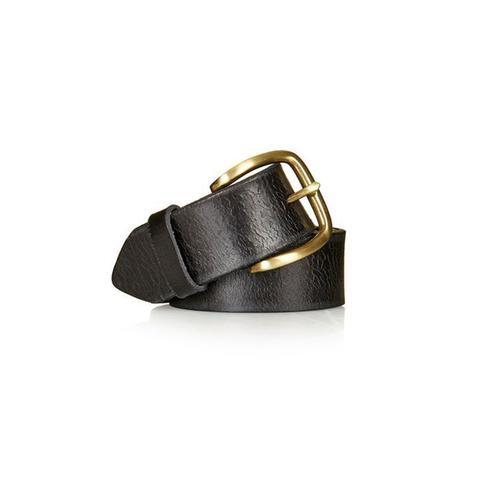 Black Crackle Leather Belt