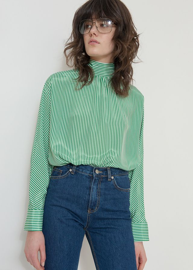 Frankie Shop Draped Back Striped Blouse