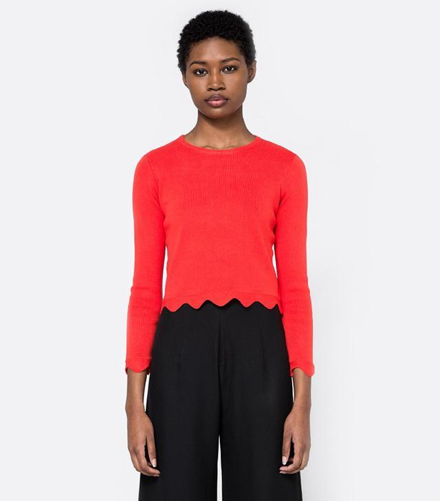 bold Scallop Hem Sweater