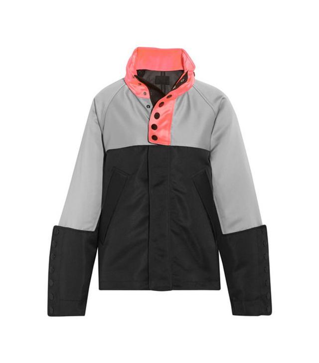 Alexander Wang Oversize Color-Block Satin-Twill Jacket