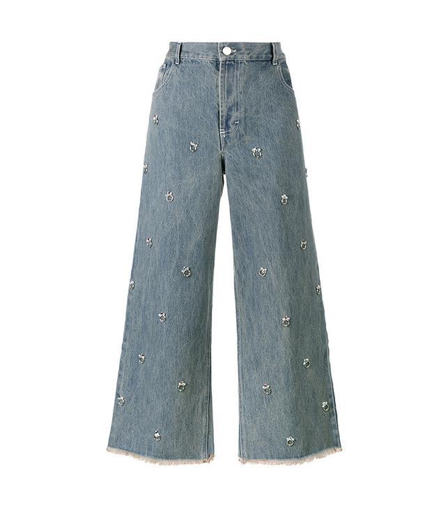 Sandy Liang Swarovksi Crystal Embellished Jeans