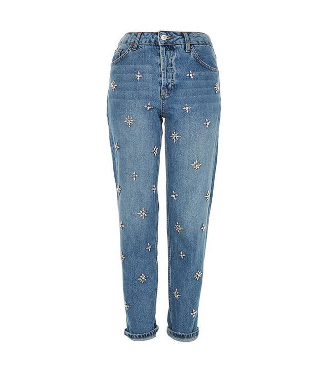 Topshop Embellished Boyfriend Jeans