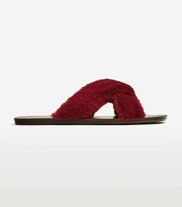 Zara Furry Criss-Cross Slides