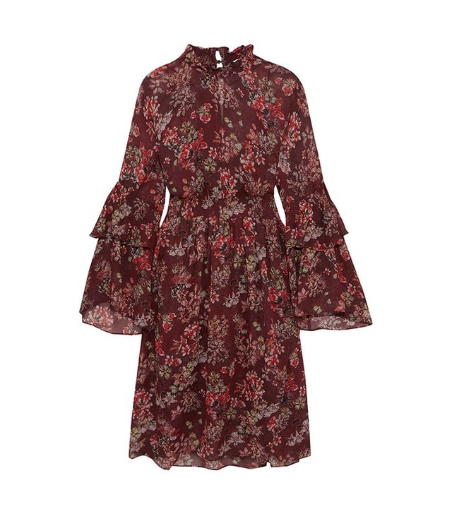 Iro Smocked Floral-Print Georgette Dress
