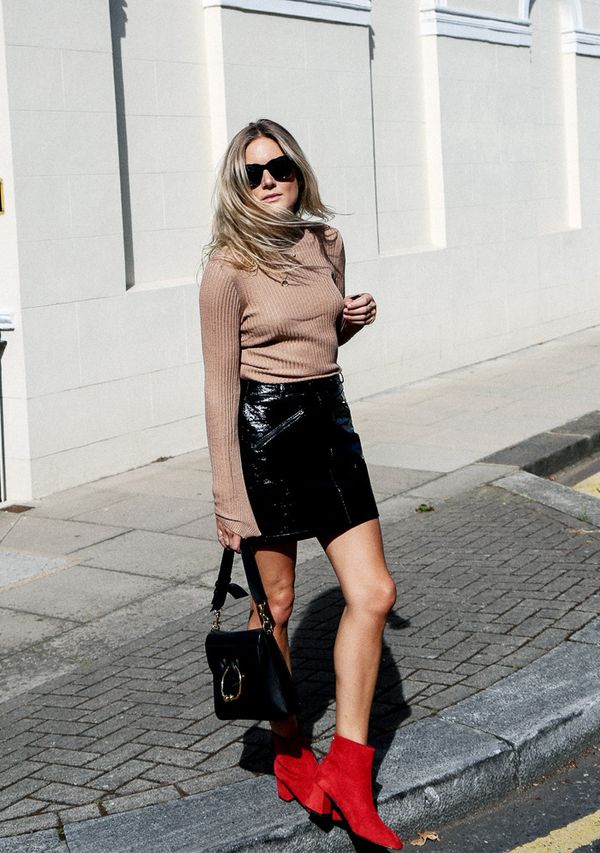 How to wear a leather skirt: Lucy Williams