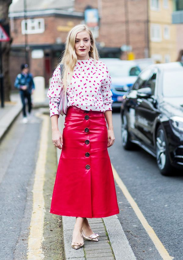 how to wear a leather skirt: Kate Foley in a red leather skirt