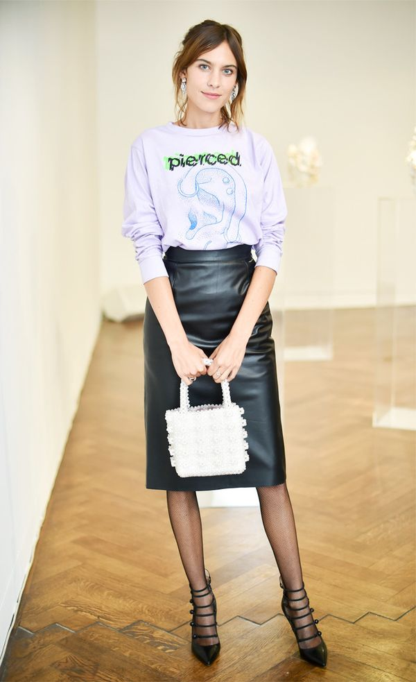 How to wear a leather skirt: Alexa Chung leather skirt