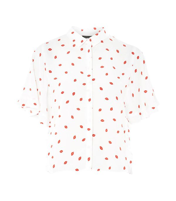 how to wear a leather skirt: Topshop Lip Print Blouse