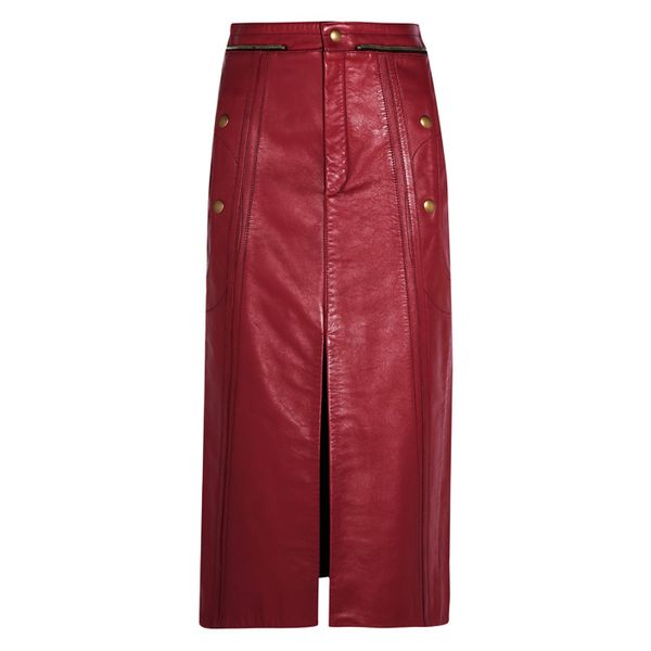 how to wear a leather skirt: red leather skirt