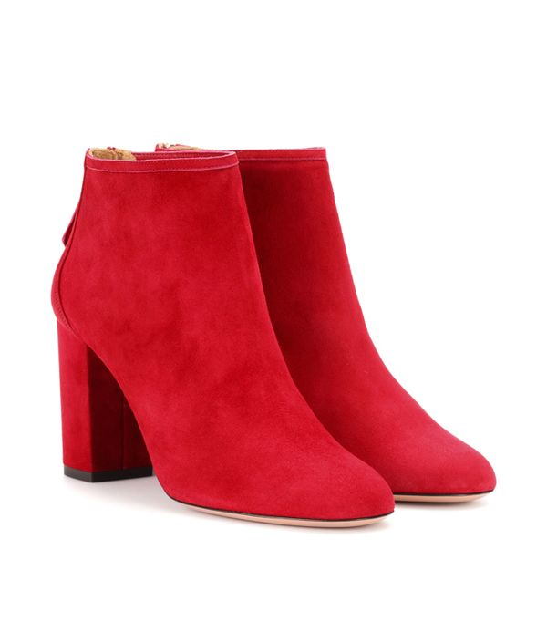 How to wear a leather skirt: Aquazzura Downtown 85 Red Suede Boots