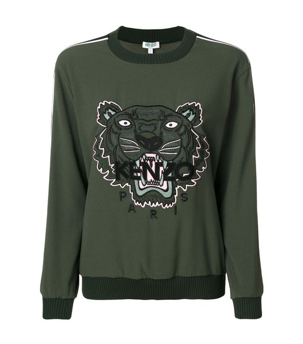 How to wear a leather skirt: Kenzo Tiger Sweatshirt