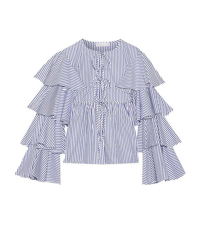 Caroline Constas Nina Ruffled Striped Cotton Oxford Jacket