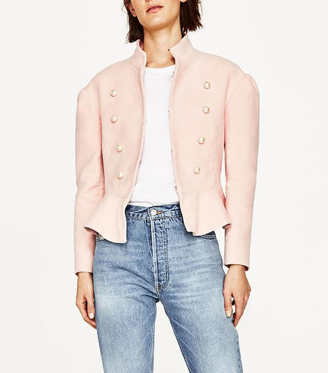 Zara Velvet Three-Quarter-Length Jacket With Pearl Buttons