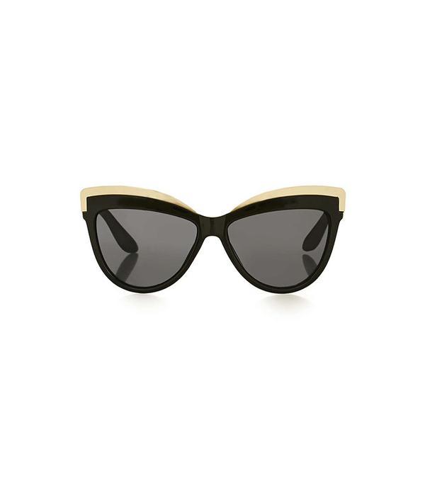 Topshop Sheldon Black Metal Detail Cateye Sunglasses