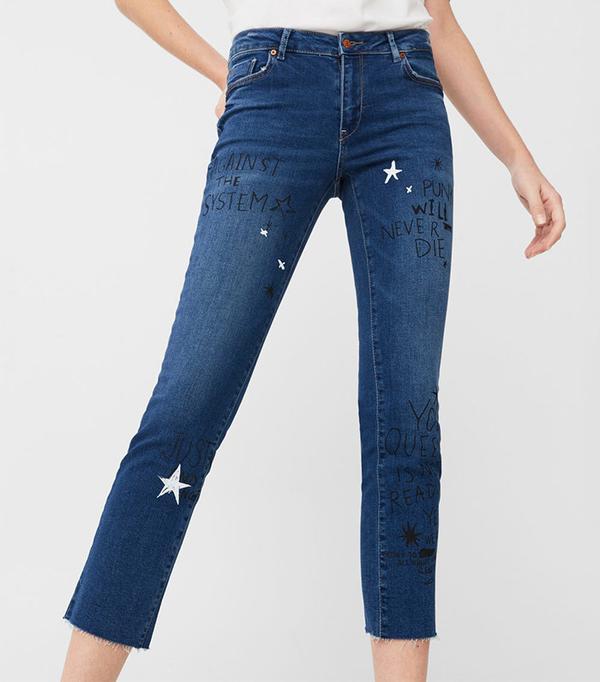 Mango Cropped Straight Graffiti Jeans