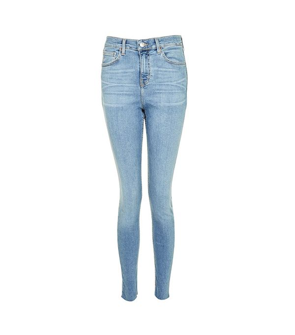 Topshop Moto Blue Raw Hem Jamie Jeans