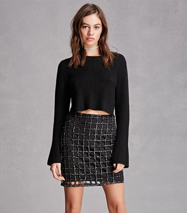 Forever 21 Purl Knit Cropped Sweater