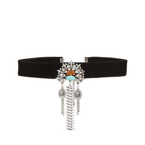 Coraline Velvet, Silver-Plated And Swarovski Crystal Choker