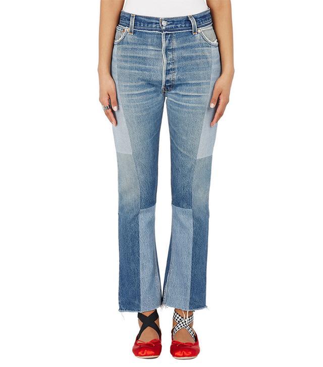 flattering Patch Crop Jeans
