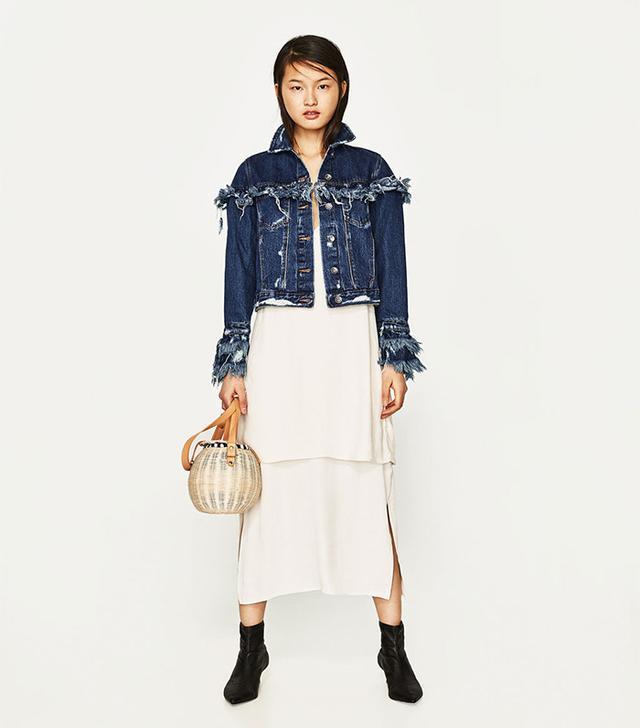 Zara Fringed Denim Jacket