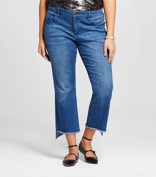 Who What Wear Women's Plus Size Frayed Edge Denim Crop